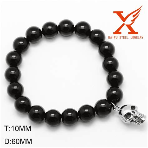 cheap bead bracelets wholesale stretch beaded bracelet big black skull