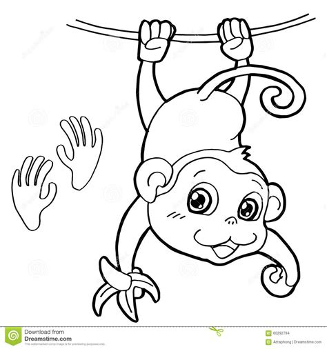 coloring book vector monkey with paw print coloring page vector stock vector