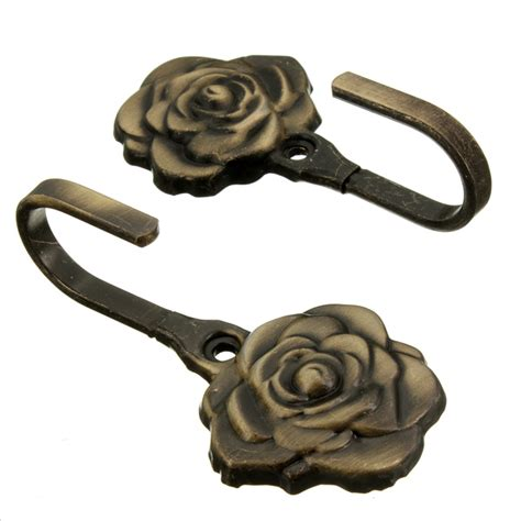 curtain tie back hardware 2pcs decorative rose leaves wall hook antique curtain tie