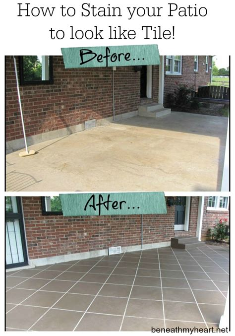 How To Stain Your Concrete Patio new tile patio floor reveal beneath