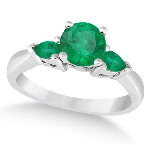 pear cut three emerald engagement ring 14k white