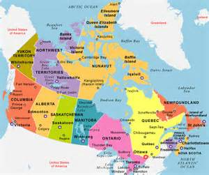 canada map major cities