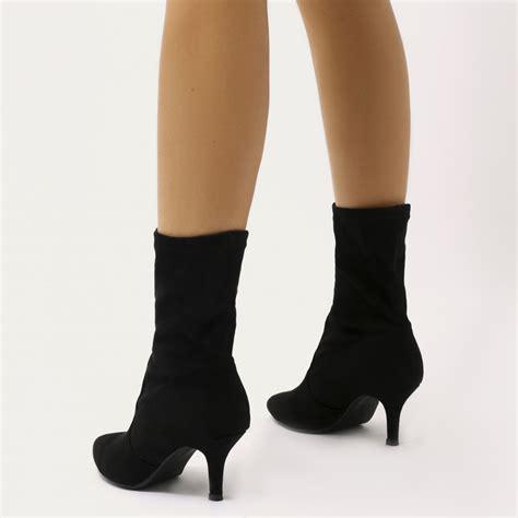 sock boots kitten heel kitten heel sock fit ankle boots in black faux