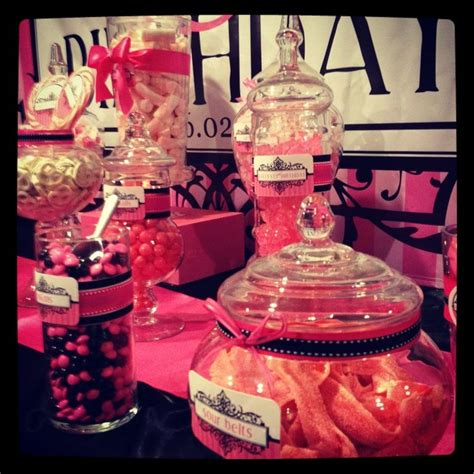 Love This Hot Pink And Black Buffet Candy Buffets Pink And Black Buffet