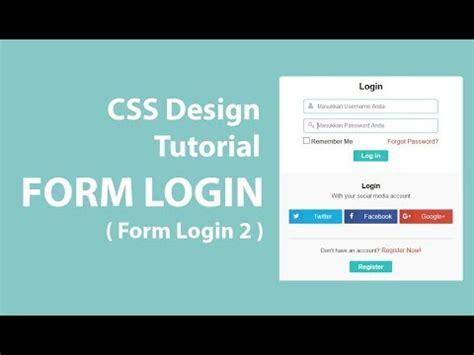 tutorial css login form cara membuat form login dengan html dan css desain 2