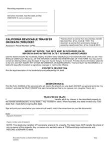 free california revocable transfer on death tod deed