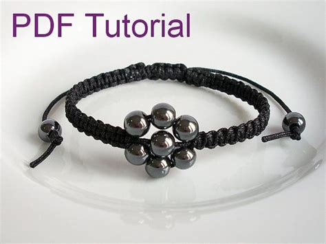Macrame Bracelet Knots - pdf tutorial beaded flower square knot macrame bracelet
