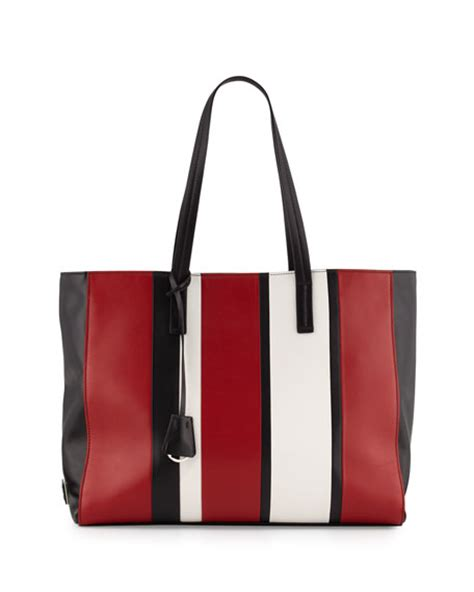 Prad Org Address Search Prada Leather Baiadera Striped Tote Bag Black White Nero Fuoco Bianco