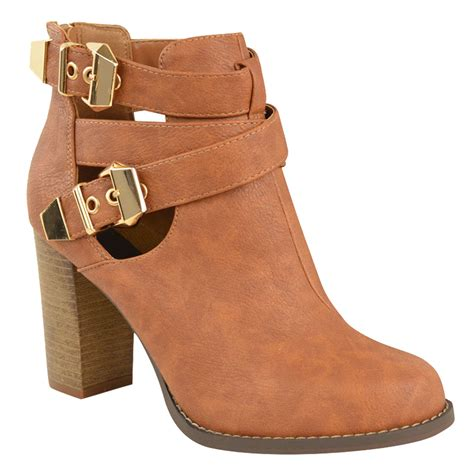 Winter Shoes Most Stylish Cutout Shoes by Womens Block Mid High Heel Cut Out Buckle Chelsea