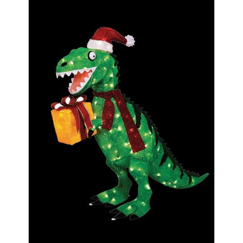 home accents holiday 42 in animated tinsel dinosaur with