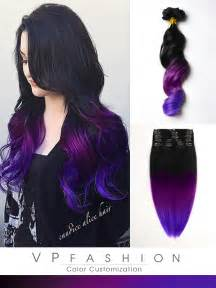 colorful extensions black to purple mermaid colorful ombre indian remy clip in