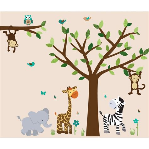 jungle murals  kids rooms  elephant wall decals