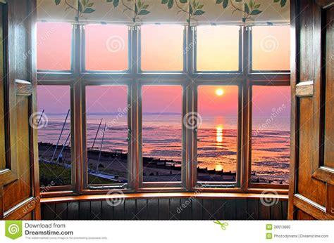 bay window sunset stock photo image