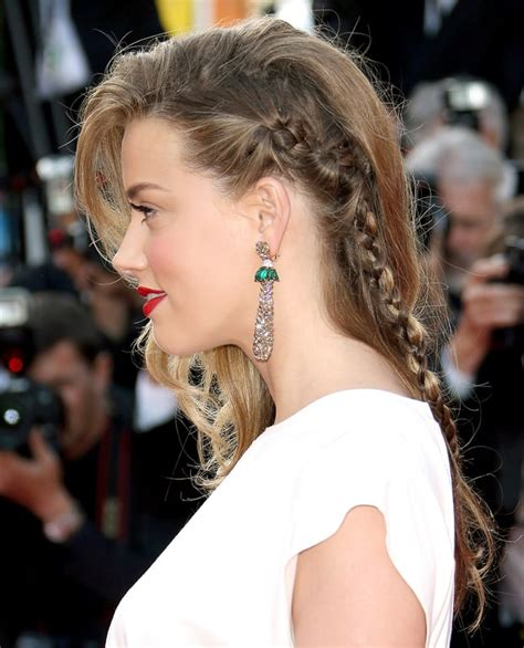 braided hairstyles red carpet amber heard celebs hot braided hairstyles on the red
