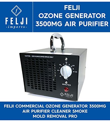 felji commercial ozone generator 3500mg air purifier cleaner smoke mold removal pro black model