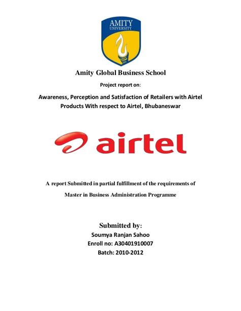 Airtel Project Report Mba by Airtel