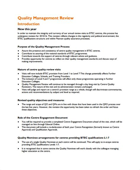 management review template sle management review templates 6 free documents