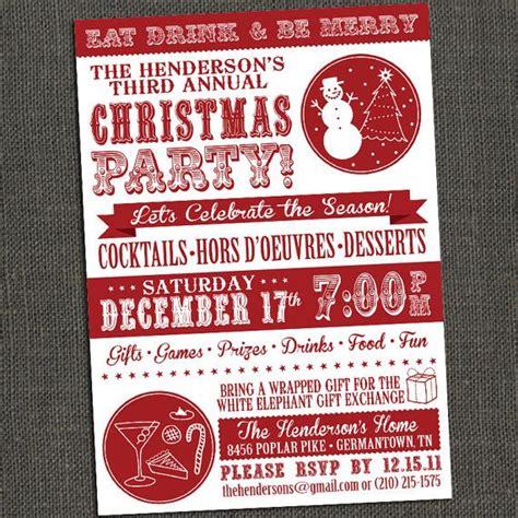 holiday christmas party invitation printable or printed