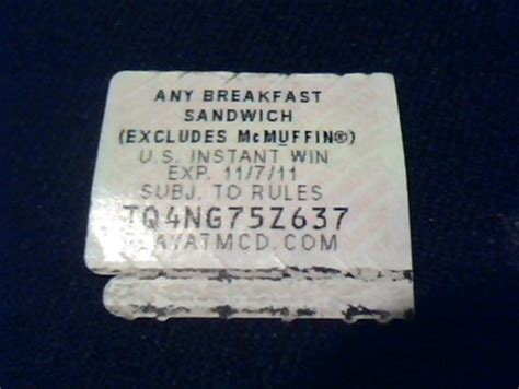 Mcdonalds Monopoly Instant Win Free Day Out - free mcdonalds monopoly piece free any breakfast sandwich instant win rewards