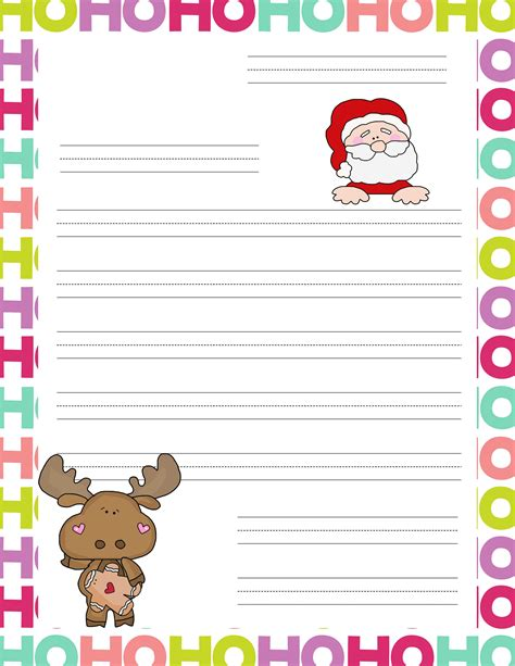 printable christmas list paper free coloring pages of writing santa paper