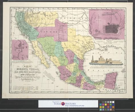 map texas and new mexico map of mexico texas and new california and yucatan showing the principal cities and towns