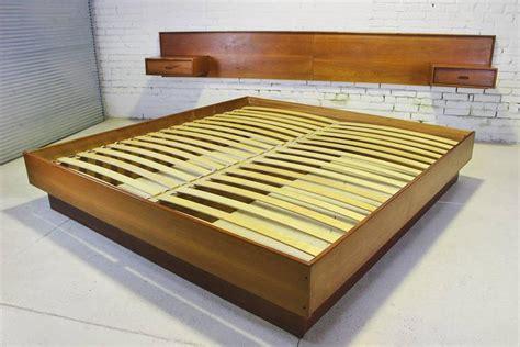 Platform Bed With Nightstands Attached Vintage Scandinavian Modern Teak King Platform Bed With Attached Nightstands At 1stdibs