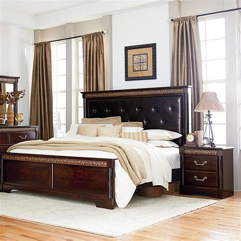 Upholstered Bedroom Furniture Standard Furniture Venetian 2 Panel Bedroom Set W Upholstered Headboard In Cherry