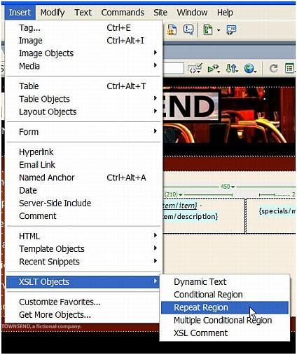 dreamweaver xslt tutorial add a repeat region xslt object tutorial displaying