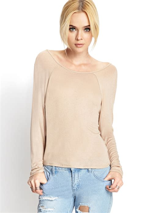 knit tops lyst forever 21 cowl back knit top in