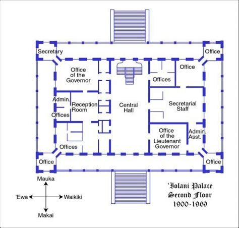 Design A Floorplan by Iolani Palace 2nd Floor 1900 1969