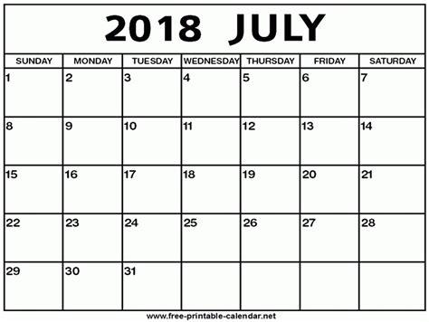 calendar template july 2018 july 2018 calendar printable larissanaestrada