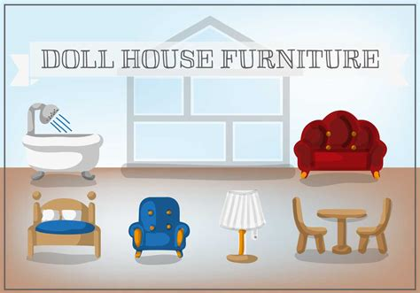 doll house furniture vector   vector