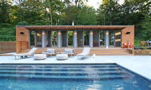 Elegant pool house design with spacious deck also modern furniture of
