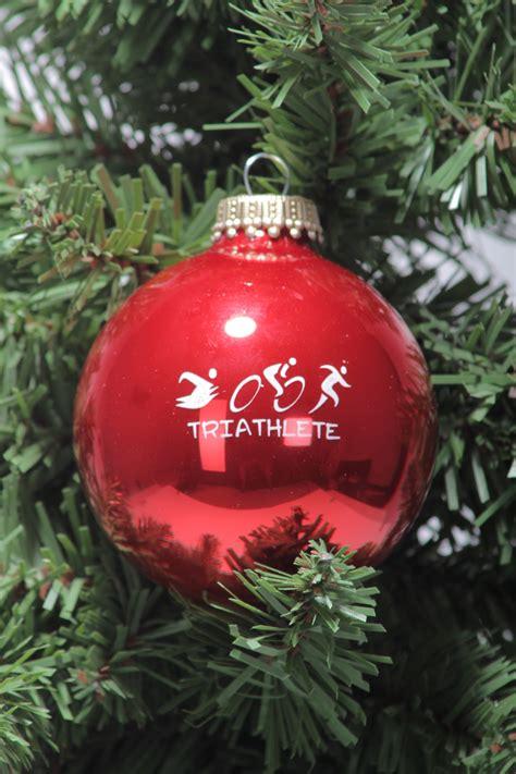 triathlete glass christmas triathlon tree ornament