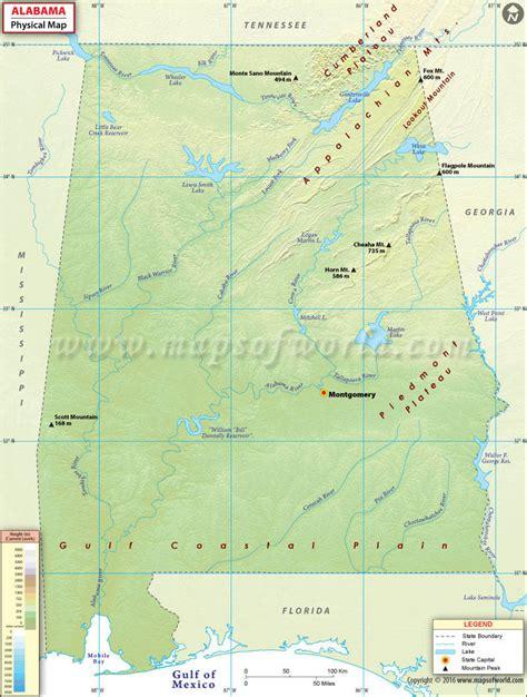 alabama on map of usa physical map of alabama alabama physical map