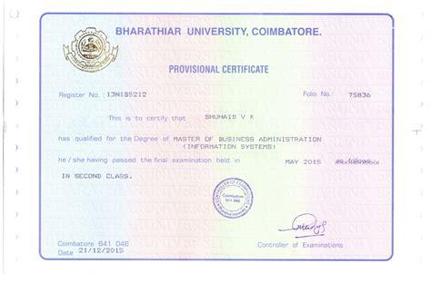 Bharathiar Mba Certificate by Shuhaib Valiya Kalladi Bayt