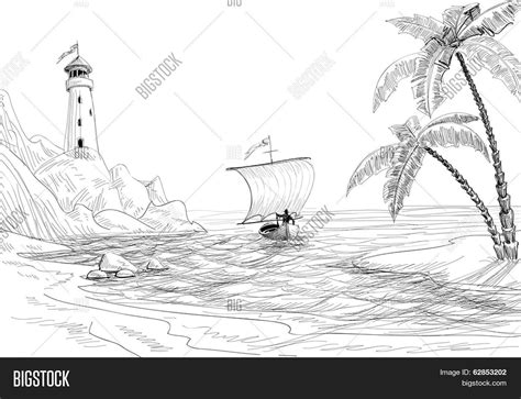 boat and lighthouse drawing seascape sketch lighthouse boat vector photo bigstock