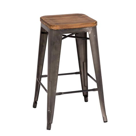 Wood And Metal Stool metro backless gun metal counter stool eurway modern