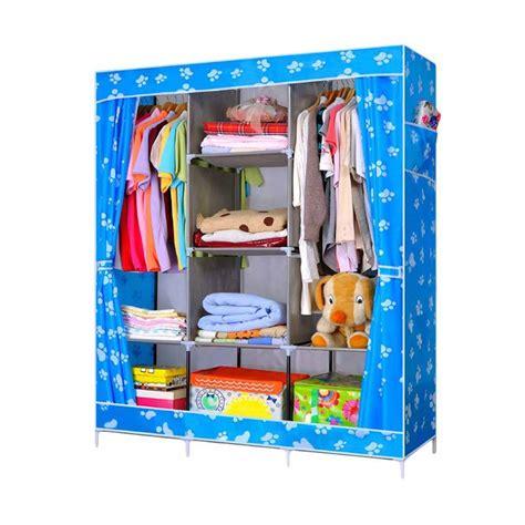 Lemari Pakaian Ukuran Besar Jumbo Motif Bluesky jual motif foots print lemari pakaian portable blue jumbo size 130 x 45 x 170 cm