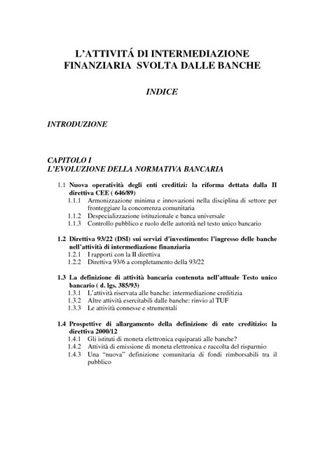 testo unico intermediazione finanziaria l attivit 224 di intermediazione finanziaria svolta dalle