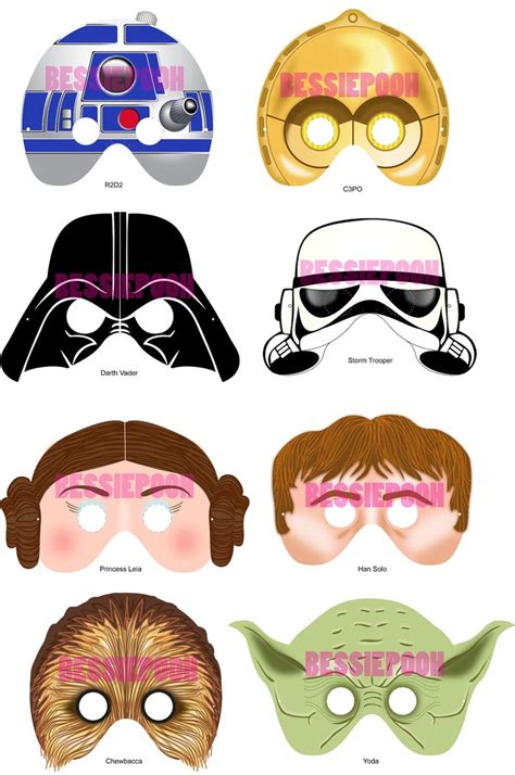 printable mask star wars party masks ready to wear qty 20 star wars