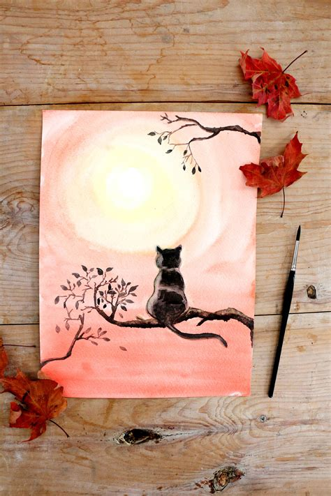 diy cat painting diy black cat watercolor painting ehow