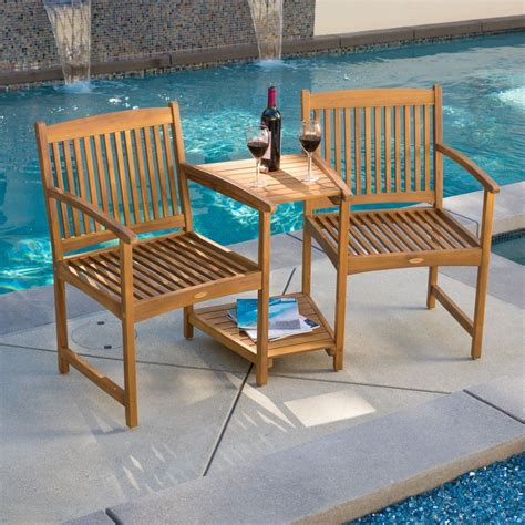 bench for two outdoor patio furniture adjoining chairs table two