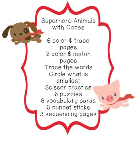 Paket Toddler preschool packet animals with capes for toddlers