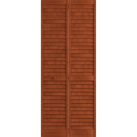 Bi Fold Louvered Closet Doors Frameport 24 In X 80 In Louver Pine Mahogany Plantation Interior Closet Bi Fold Door 3115178