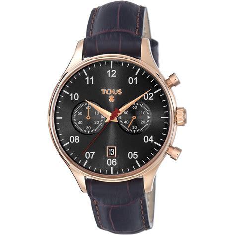imagenes de relojes minimalistas reloj 1920 de acero ip rosado con correa de piel negra tous