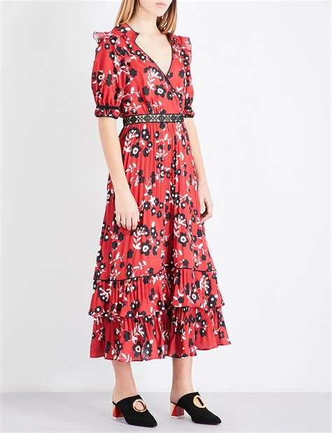 Floral Print Chiffon Shirt lyst self portrait floral print chiffon shirt dress in