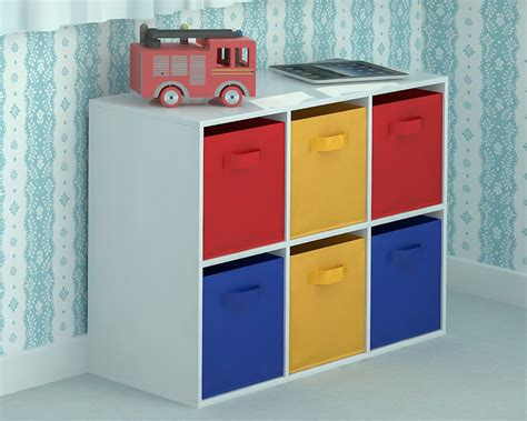 children storage toy storage unit kids chest of 6 canvas drawers for