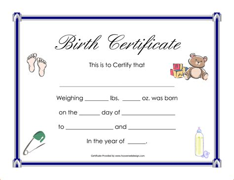 birth certificate template 6 birth certificate templates bookletemplate org