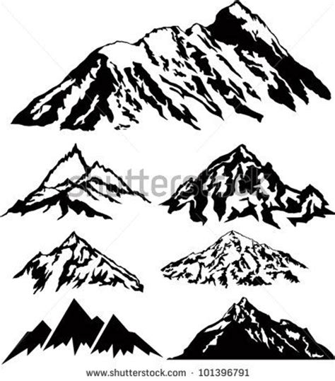 mountain silhouette tattoo set of vector silhouettes of the mountains stock vector